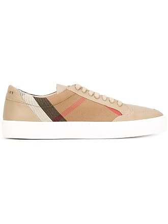 98e82bbeeca Burberry Check Detail Leather Sneakers - Neutrals