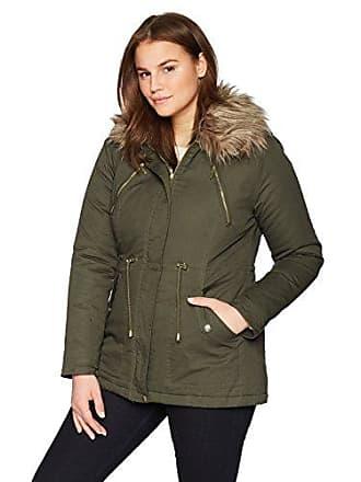 Yoki Womens Plus Size Anorak Twill Jacket with Faux Fur Trim Collar, Olive 3X