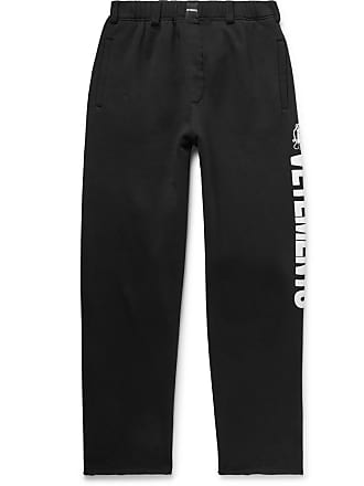 VETEMENTS Logo-print Fleece-back Cotton-jersey Sweatpants - Black