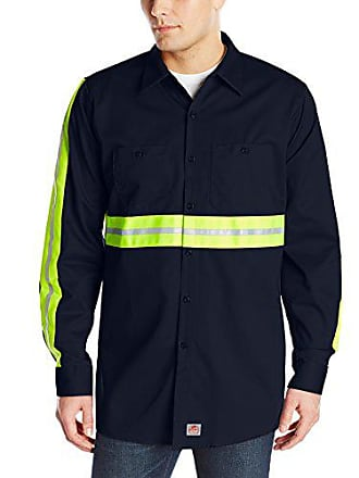 a85f7fd6 Red Kap Mens Enhanced Visibility Cotton Work Shirt, Navy with Yellow/Green  Visibility Trim