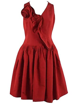 c89b37c785 Oscar De La Renta Red Silk Taffeta Dress With Rose Detail - 6