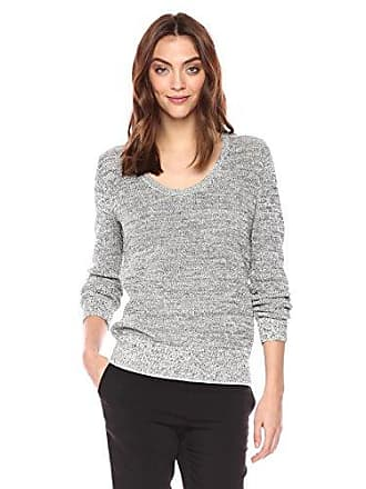 Theory Womens Long Sleeve Scoop Neck Pullover Sweater, Black Mix, P