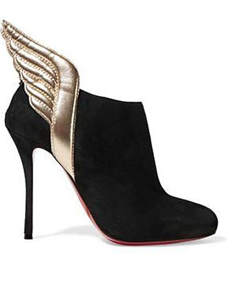 8abe46a8e7e Christian Louboutin Christian Louboutin Woman Mercura 100 Metallic Leather-trimmed  Suede Ankle Boots Black Size