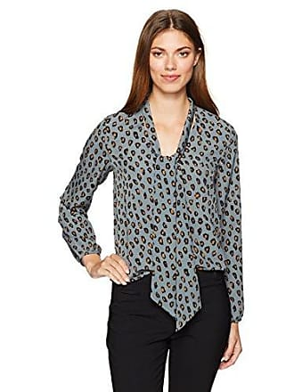 cupcakes and cashmere Womens Jovan Leopard Print Front Tie Top, Storm Blue, X-Small