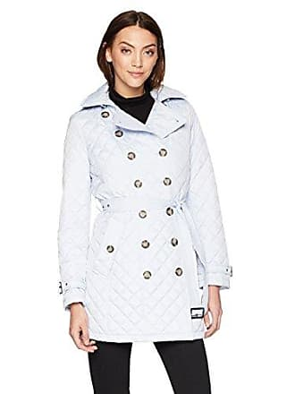 Calvin Klein Womens Double Breasted Quilt, Belted with Hood, Powder Blue, S