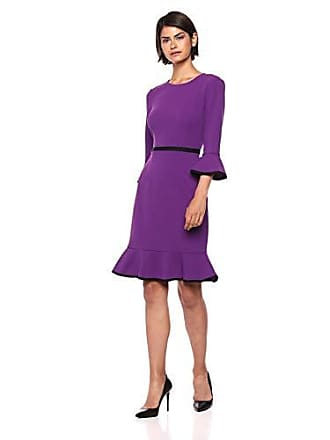 Donna Morgan Womens 3/4 Sleeve Shift with Contrast Piping, Bright Purple/Black, 8