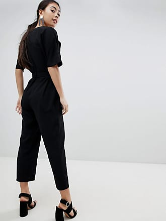 8a1b6050ba Asos Petite ASOS DESIGN Petite wrap jumpsuit with self belt - Black