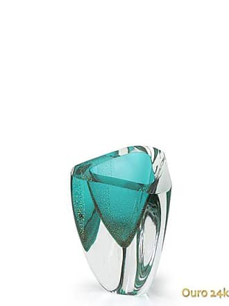 Cristais cá d'Oro Vaso Triangular nº 4 Verde com Ouro