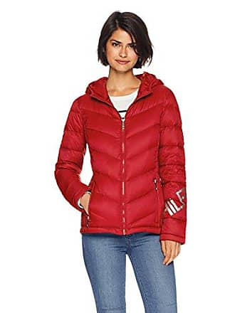 Tommy Hilfiger Womens Logo Quilted Hooded Packable Puffer Jacket, Salsa, S