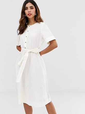 Vero Moda button through tie waist midi shirt dress - White