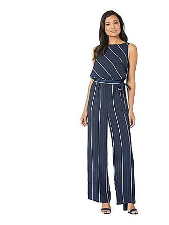 2d429f16d5b6 Vince Camuto Sleeveless Striped Sportswear Belted Jumpsuit (Classic Navy) Womens  Jumpsuit   Rompers One