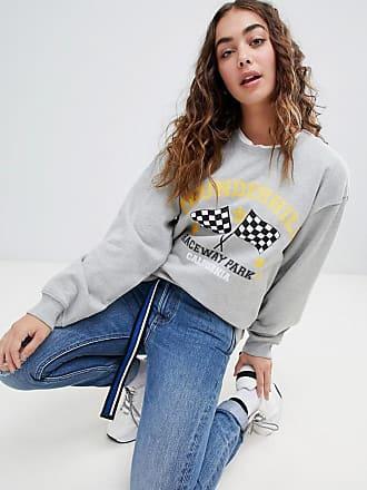 a5c23e33d08e Daisy Street Locker geschnittenes Sweatshirt mit Vintage-Print - Grau