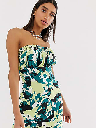 Reclaimed Vintage inspired bandeau dress with shirred ruffle in camo print - Multi