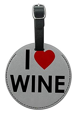 Graphics & More Graphics & More I Love Heart Wine Round Leather Luggage Id Tag Suitcase Carry-on, Black