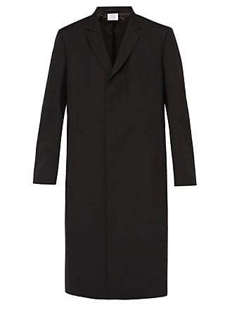 VETEMENTS Double Sleeve Single Breasted Twill Overcoat - Mens - Black