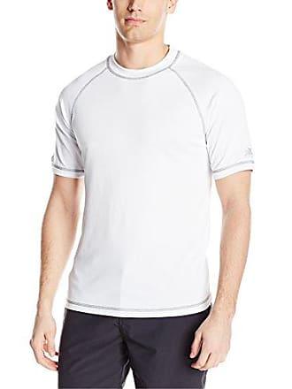 ZeroXposur Mens Short Sleeve UPF 50+Solid Dri Fit Rashguard, White, Large