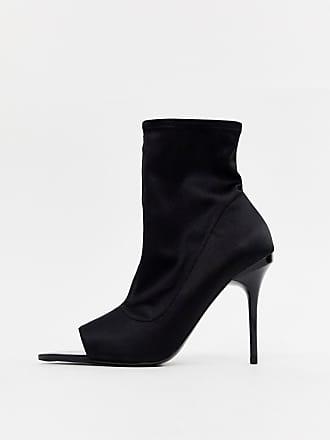 Asos Esther - Stivaletti a calza aperti neri con tacco a spillo - Nero 6adcdc324cb