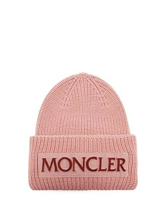 fb24126d390 Moncler Velvet Logo Wool Beanie Hat - Womens - Light Pink