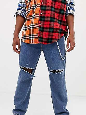 d2c18f888ed Collusion x005 straight leg jean in classic blue mid wash with rips - Blue
