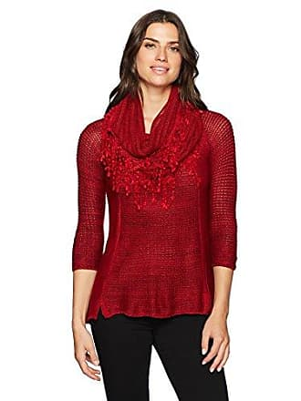Oneworld Womens 3/4 Sleeve Sweater with Attached Scarf, Canyon red, S