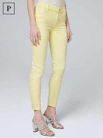 White House Black Market Womens Petite Mid-Rise Skinny Cropped Jeans by White House Black Market, Lemon Tonic, Size 10
