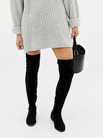 9b2e43a3ea563 Asos Tall ASOS DESIGN Wide Fit Tall kaska flat studded over the knee boots