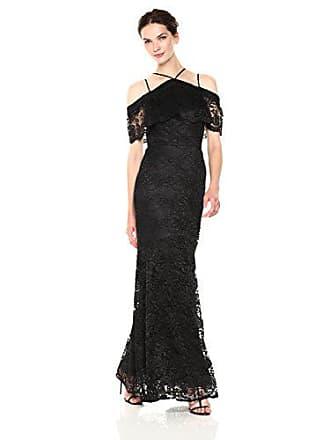 Nicole Miller Womens lace Cold Shoulder Gown, Black, 8
