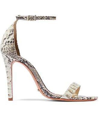 c996910b1d1182 Schutz Schutz Woman Cadey Lee Snake-effect Leather Sandals Ecru Size 5.5