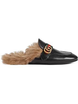 Gucci Slipper Princetown com aplicação - Preto