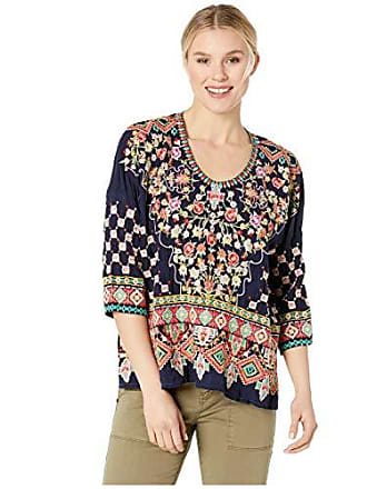 Johnny Was Womens 3/4 Sleeve Boxy Blouse with Multicolor Embroidery, Blue Night, M
