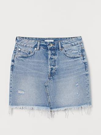 H&M Raw-edge Denim Skirt - Blue