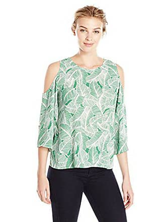 Lark & Ro Womens Cut Out Shoulder Blouse, Green Leaves, Medium