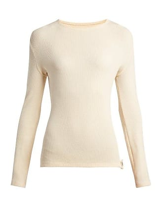 Paco Rabanne Ribbed Knit Wool Blend Sweater - Womens - Cream