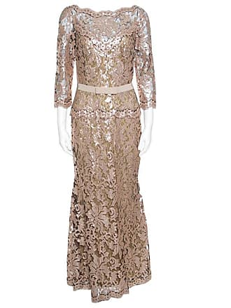 d4444200a20 1stdibs Tadashi Shoji Pink And Black Lace Sequined Long Sleeve Boat Neck  Gown S