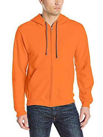 Fruit Of The Loom Mens Full-Zip Hooded Sweatshirt, Orange Sherbet, Medium