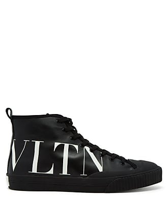 Valentino Logo Leather High Top Trainers - Mens - Black