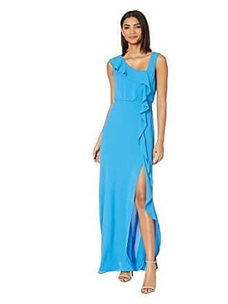 Bcbgmaxazria BCBGMax Azria Womens Asymmetric Neck Maxi Dress, French Blue, 12