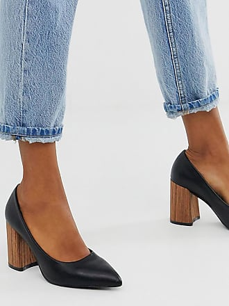 Z_Code_Z Exclusive Eden vegan wood effect heeled shoes in black