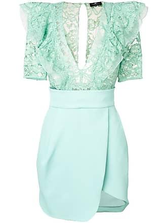 Elisabetta Franchi lace ruffled dress - Green