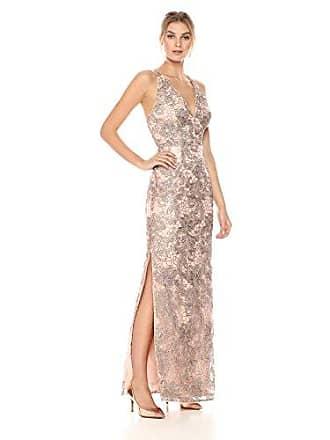 Aidan Mattox Womens Sleeveless Column Gown, Light Mink, 8