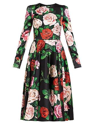 ea9609e4 Dolce & Gabbana Rose Print Silk Blend Charmeuse Midi Dress - Womens - Black  Multi