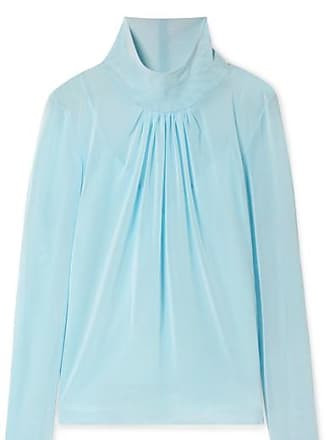 Victoria Beckham Gathered Stretch-tulle Blouse - Sky blue