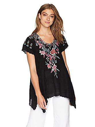 Johnny Was Womens Scoopneck Blouse with Scallop Hem and Multicolor Embroidery, Black, XS