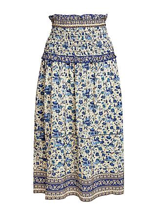 Sea New York Doe Silk Floral Smocked Midi Skirt Blue Multi