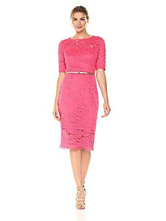 Ellen Tracy Womens 3/4 Sleeved Lace Dress with Belt, Rose 4