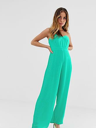 0af41b0e471f Tfnc Petite Tuta jumpsuit a fascia verde a pieghe con fondo ampio - Verde