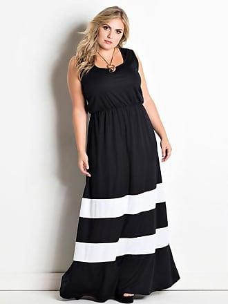 b78b5a064ca Marguerite Vestido Longo Preto Listras Brancas Plus Size