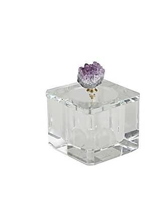 Sagebrook Home 13311-03 Crystal/Agate/Metal Box, 4 x 4 x 4.25, Purple