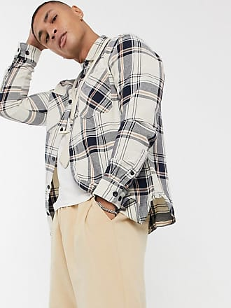 JACK /& JONES Mens Long Sleeve Casual Gingham Check Shirt Slim Fit Olive Nights