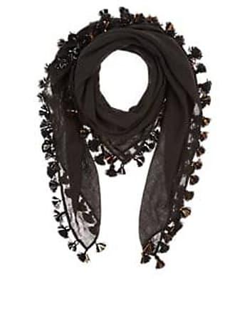Barneys New York Womens Pom-Pom-Embellished Gauze Scarf - Black